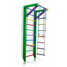 Детская Шведская стенка - цветной спортивный уголок: кольца, канат, турник, лестница 220х80 см зеленый РГ2-220