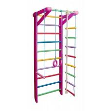 Детская Шведская стенка - цветной спортивный уголок: кольца, канат, турник, лестница 240х80см розовый Б2-240
