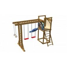 Детская площадка-игровой комплекс спортивный деревянный, горка, качели, кольца, рукоход 240х360х380 см