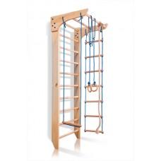 Детский спортивный комплекс-уголок: шведская стенка с турником, кольца, лестница, канат 65х80х220 K 2-220
