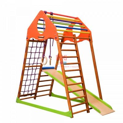 Детский спортивный комплекс-уголок для дома и квартиры, сетка, горка, кольца, рукоход 132х85х150 см KW