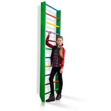 Спортивная Шведская стенка деревянная для дома, квартиры и зала 220х80 см разноцветная - 0-220 (green)