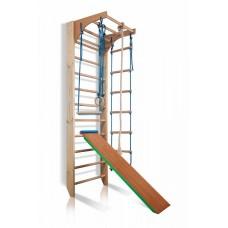 Детский спортивный комплекс-уголок: шведская стенка с турником, кольца, лестница, канат 65х80х240 см K3-240