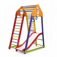Детский спортивный Комплекс-уголок для дома и квартиры: сетка, горка, кольца, рукоход 132х85х170 см BBWCP1
