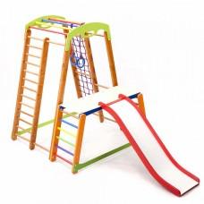 Детский спортивный Комплекс-уголок для дома и квартиры, сетка, горка, кольца, рукоход 130х130х150 см К-2 P-1-1