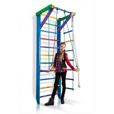 Детская Шведская стенка - цветной спортивный уголок: кольца, канат, турник, лестница 240х80 см синий Р2-240