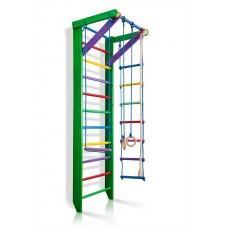 Детская Шведская стенка - цветной спортивный уголок: кольца, канат, турник, лестница 240х80 см зеленый РГ2-240