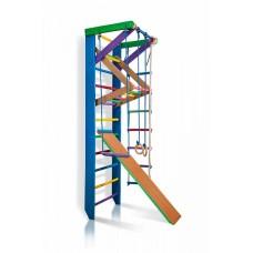 Детская Шведская стенка - цветной спортивный уголок: кольца, канат, турник-рукоход, лестница 240х80 см Р3-240