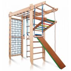 Детский Спортивный комплекс-уголок: Шведская стенка с турником и рукоходом, кольца, лестница 80х220 см С-220