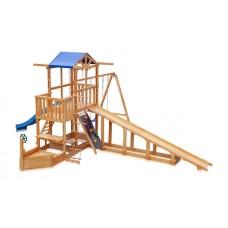 Детский игровой деревянный спортивный комплекс Капитан площадка, горка зимняя, качели, песочница 430х410х310см