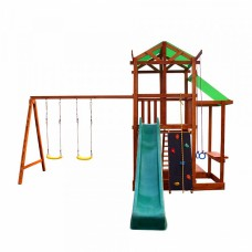 Детский игровой комплекс спортивный деревянный - площадка детская, горка, качели и песочница 460х440х320 см
