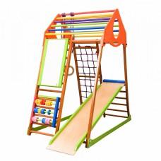Детский спортивный комплекс-уголок для дома и квартиры, сетка, горка, кольца, рукоход 132х85х150 см KWP 47866-19 ks-«KindWood Plus»