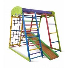 Детский спортивный Комплекс-уголок для дома и квартиры, сетка, прямая горка, кольца, рукоход 132х124х130 см ЮМ