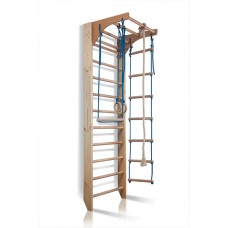 Детский спортивный комплекс-уголок: шведская стенка с турником, кольца, лестница, канат 65х80х240 см K2-240