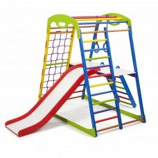 Детский спортивный комплекс-уголок для дома и квартиры, сетка, горка, кольца, рукоход 132х85х130 см SWP 2