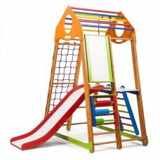 Детский спортивный Комплекс-уголок для дома и квартиры: столик, мольберт, горка, рукоход 132х85х170 см BBWP 3
