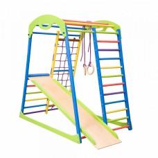 Детский спортивный Комплекс-уголок для дома и квартиры, сетка, прямая горка, кольца, рукоход 132х85х130 см SW
