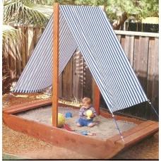 Детская Деревянная Песочница Кораблик, натяжной хлопковый тент-парус, для улицы и дачи 200х150х30 см