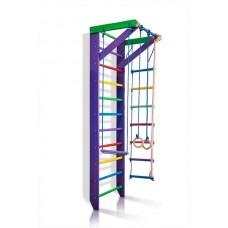 Детская Шведская стенка - цветной спортивный уголок: кольца, канат, турник, лестница 240х80см фиолетовый К2-240