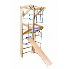 Детский Спортивный комплекс-уголок: шведская стенка с 2 турниками, кольца, рукоход, канат 65х80х220 см S3-220