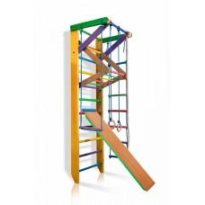 Детская шведская стенка - цветной спортивный уголок: кольца, канат, турник-рукоход, лестница 220х80 см Ю3-220