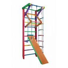 Детская шведская стенка - цветной спортивный уголок: кольца, канат, турник-рукоход, лестница 240х80 см Б3-240
