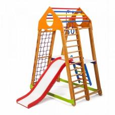 Детский спортивный Комплекс-уголок для дома и квартиры: сетка, горка, кольца, рукоход 132х85х170 см BBWP 2