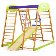 Детский спортивный Комплекс-уголок для дома, квартиры: рукоход, прямая горка, сетка, кольца 132х124х130 см KM