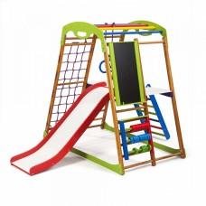 Детский спортивный Комплекс-уголок для дома и квартиры: сетка, горка Волна, кольца, рукоход 132х85х130 см BWP 3