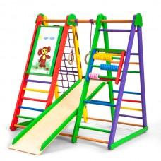 Детский спортивный Комплекс-уголок для дома и квартиры, гладиаторская сетка, горка, кольца 124х100х130 см Э