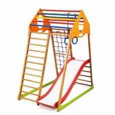 Детский спортивный комплекс-уголок для дома и квартиры, сетка, горка, кольца, рукоход 132х85х150 см KWP 1