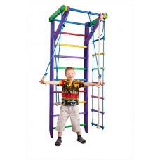Детская Шведская стенка - цветной спортивный уголок:  кольца, канат, турник, лестница 220х80 см фиолетовый К2-220