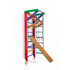 Детская Шведская стенка - цветной спортивный уголок: кольца, канат, турник-рукоход, лестница 220х80 см Б3-220