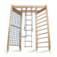 Детский Спортивный комплекс-уголок: шведская стенка с рукоходом, гладиаторская сетка, кольца 150х240 см S4-240
