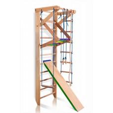 Детский спортивный комплекс-уголок: шведская стенка с турником, кольца, лестница, канат 65х80х240 см S3-240