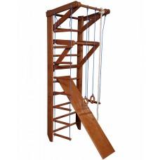 Детская шведская стенка - деревянный спортивный уголок, турник-рукоход, кольца, лестница, 220х80см О3-220