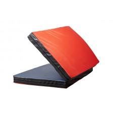 Гимнастический спортивный складной Мат-Книжка двойной для зала, кожвинил (цвет красный-черный) 200х100x8 см