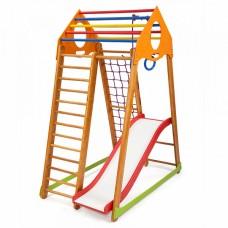 Детский спортивный Комплекс-уголок для дома и квартиры: сетка, горка, кольца, рукоход 132х85х170 см BBWP 1