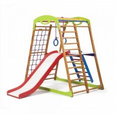 Детский спортивный Комплекс-уголок для дома, квартиры: сетка, горка Волна, кольца, рукоход 132х85х130 см BWP 2