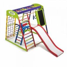 Детский спортивный Комплекс-уголок для дома и квартиры: сетка, горка Волна кольца, рукоход 132х124х130 см ЮP 3