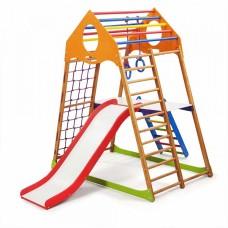Детский спортивный комплекс-уголок для дома и квартиры, сетка, горка, кольца, рукоход 132х85х150 см KWP 2