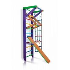 Детская шведская стенка - цветной спортивный уголок: кольца, канат, турник-рукоход, лестница 240х80 см К3-240