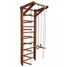 Детская шведская стенка - деревянный спортивный комплекс-уголок, турник, кольца, лестница, 220х80 см О2-220