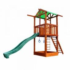 Детский игровой комплекс спортивный деревянный, площадка детская, горка, песочница, кольца 410х160х320 см