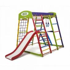 Детский спортивный комплекс-уголок для дома, квартиры: сетка, горка Волна, кольца, рукоход 132х124х130 см ЮP 2