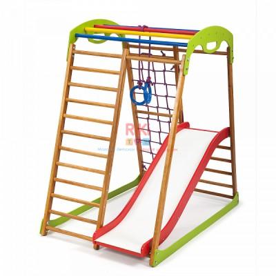 Детский спортивный комплекс-уголок для дома и квартиры, сетка, горка, кольца, рукоход 132х85х130 см BWP 1