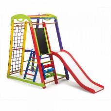 Детский спортивный Комплекс-уголок для дома и квартиры: сетка, горка, рукоход, мольберт 132х85х150 см K-1 P-3