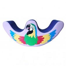 Детская мягкая спортивная игровая Качалка с аппликацией для дома, детского сада, школы Попугай 120х30х60 см
