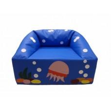 Мягкое яркое игровое кресло для детей от 1 до 10 лет с рисунком для квартиры, дачи или школы Океан 80х65х60 см