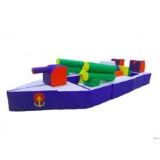Детский Спортивно-игровой Модуль-трансформер Военный корабль из 32 элементов со съемным чехлом 315х120х60см